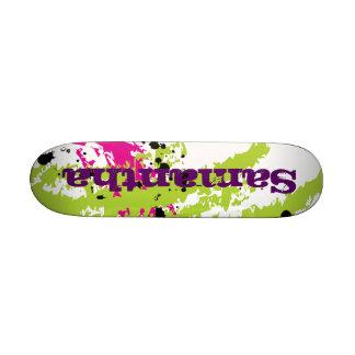 Mini monopatín de la pintura de la tinta verde ros skate board