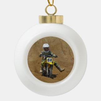 Mini Motocross Ceramic Ball Christmas Ornament