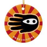 Hand shaped Mini Ninja Ceramic Ornament