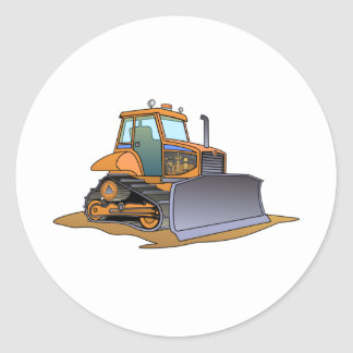 Mini Orange Bulldozer Round Sticker