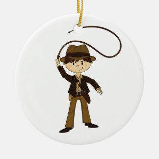 Mini ornamento lindo del explorador adorno navideño redondo de cerámica