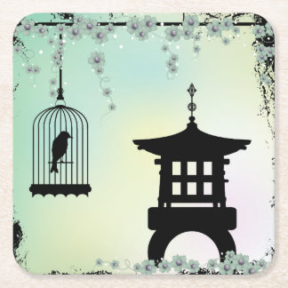 Mini pagoda bird cage black grunge square paper coaster