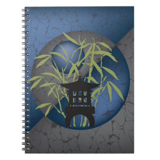 Mini pagoda freen bamboo textured notebook