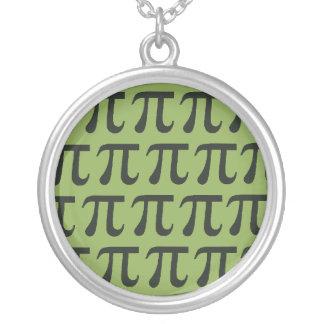 Mini Pi in Green Round Pendant Necklace