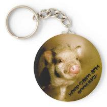 "Mini pig ""Keep calm and good luck "" Keychain"