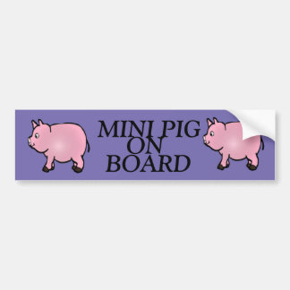 MINI PIG ON BOARD, Pink Mini Pig Bumper Sticker