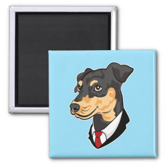 Mini Pinscher Keychain 2 Inch Square Magnet