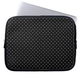 Mini Polka Dots in Black and White Customize it Laptop Computer Sleeve