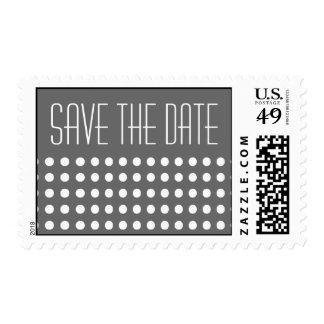 Mini Polka Dots Save The Date Postage (Gray)