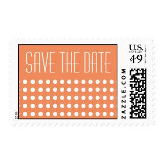 Mini Polka Dots Save The Date Postage (Orange)