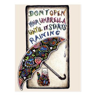 Mini postal de la cita del paraguas del gato del a