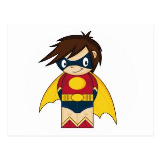 Mini postal linda del super héroe