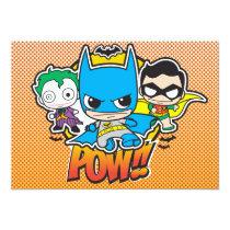 justice leauge, super hero, batman, superman, chibi, toy, kids, party, birthday, invitations, robin, cyborg, joker, japanese, dc comics, comic book, Invitation with custom graphic design