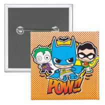justice leauge, super hero, batman, robin, superman, cyborg, joker, chibi, japanese, toy, dc comics, comic book, Button with custom graphic design