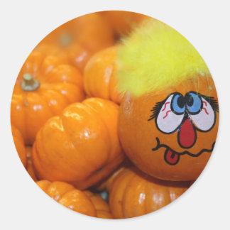 Mini Pumpkin Face Classic Round Sticker