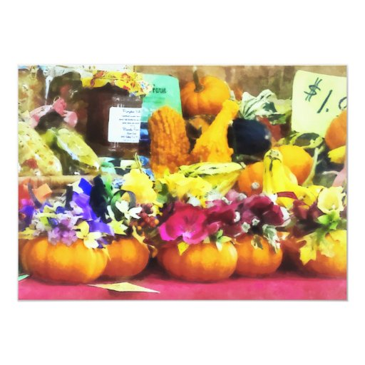 Mini Pumpkins and Gourds at Farmer's Market Personalized Announcement