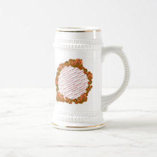 Mini Pumpkins w/Circle of Fall Leaves Frame 18 Oz Beer Stein