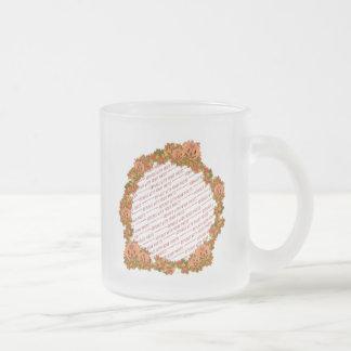 Mini Pumpkins w/Circle of Fall Leaves Frame 10 Oz Frosted Glass Coffee Mug