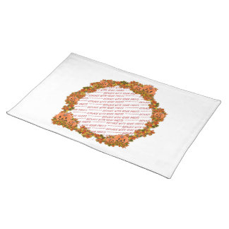 Mini Pumpkins w/Circle of Fall Leaves Frame Cloth Place Mat