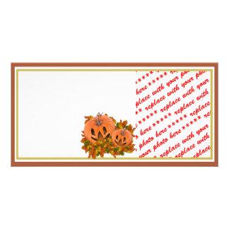 Mini Pumpkins with Fall Leaves Photo Frame Card