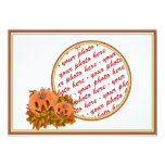 Mini Pumpkins with Fall Leaves Photo Frame 5x7 Paper Invitation Card