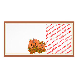 Mini Pumpkins with Fall Leaves Photo Frame Photo Card