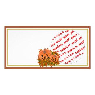 Mini Pumpkins with Fall Leaves Photo Frame Photo Card Template