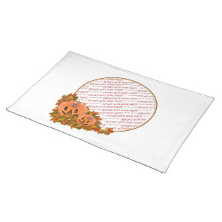 Mini Pumpkins with Fall Leaves Photo Frame Cloth Place Mat
