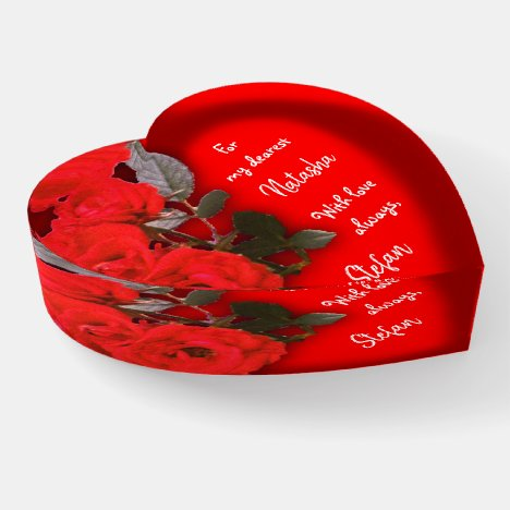 Mini Red Roses Message Heart Paperweight