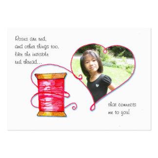 Mini Red Thread Valentine Business Card
