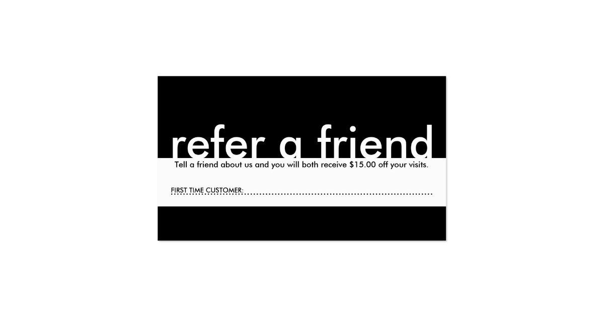 Mini refer a friend business card zazzle for Refer a friend business cards
