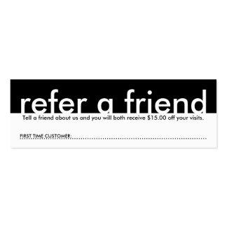mini refiera a un amigo tarjeta personal
