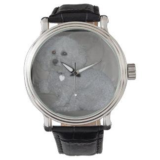 Mini reloj blanco del caniche
