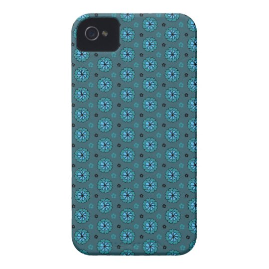 Mini sakura teal aqua blue cherry blossoms pattern iPhone 4 Case-Mate case