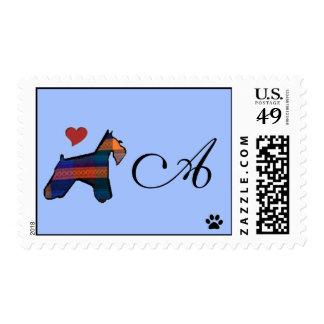 Mini sello del monograma del Schnauzer