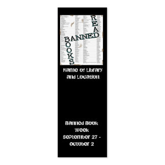 Mini señal prohibida de la semana del libro a tarjetas de visita mini