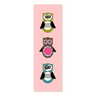 Mini señales de los búhos retros tarjetas de visita mini
