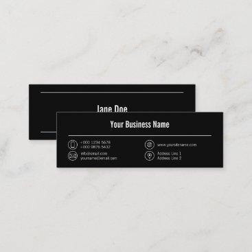 Mini Simple Business White Lines Icons Black Mini Business Card