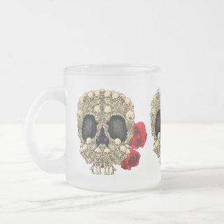 Mini Skeletons Sugar Skull Frosted Glass Coffee Mug
