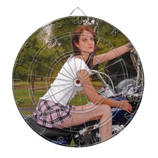"""""""Mini-skirt Biker Babe Dart Board"""" Dartboard"""
