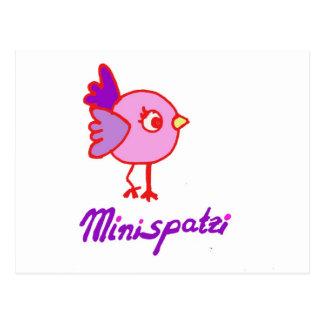 Mini spatzi - bird postcard