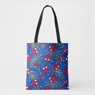Mini Spider-Man and Web Pattern Tote Bag
