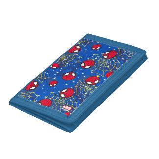 Mini Spider-Man and Web Pattern Tri-fold Wallet