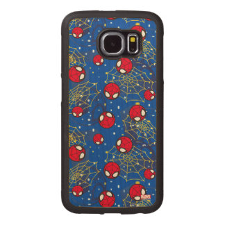 Mini Spider-Man and Web Pattern Wood Phone Case
