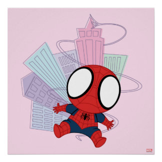Mini Spider-Man & City Graphic Poster