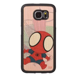 Mini Spider-Man & City Graphic Wood Phone Case