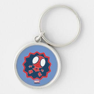 Mini Spider-Man en gráfico del reclamo Llavero Redondo Plateado