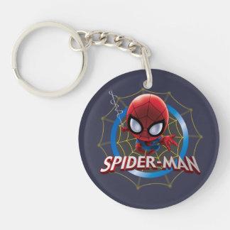 Mini Spider-Man estilizado en Web Llavero Redondo Acrílico A Doble Cara