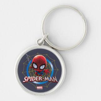 Mini Spider-Man estilizado en Web Llavero Redondo Plateado
