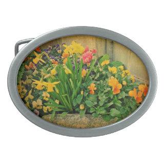 Mini Springtime Garden Oval Belt Buckle